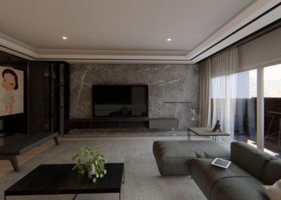 南港日升邱宅客廳空間模擬圖