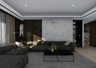 南港日升邱宅客廳背牆空間模擬圖